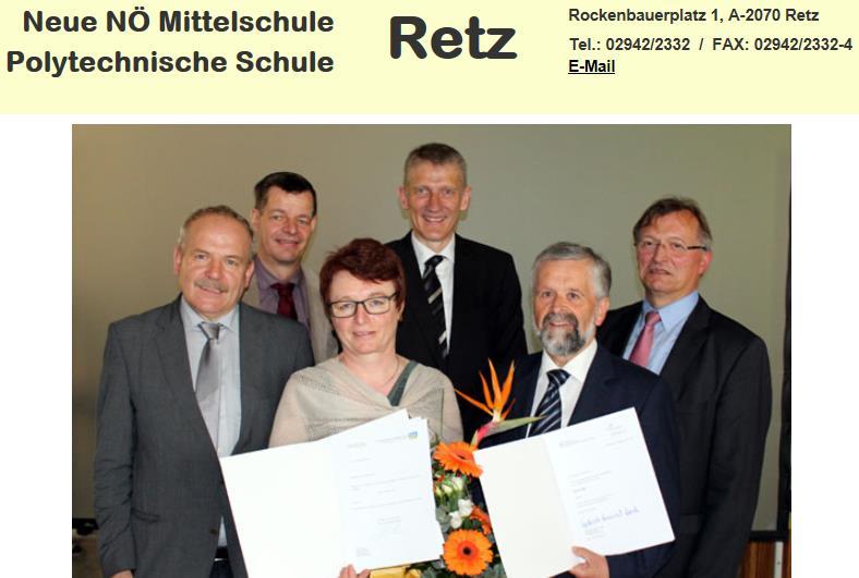 1. Reihe - die neuen Schulräte Helga Achtsnit und Walter Fallheier 2. Reihe von links nach rechts: Bgm. Helmut Koch, Schulobmann Gerold Blei, PSI Josef Fürst, Dir. OSR Ernst Raab