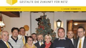 Titelblatt der WIR für RETZ Zeitung vom Dezember 2016