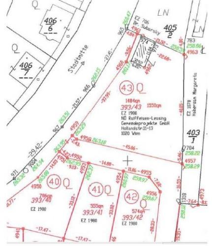 Teilungsplan Siedlung am Weinberg (Quelle: www.retz.gv.at) mit eingezeichnetem Streifen für Gehweg bzw. Radfahrweg (Breite 4,84 m)