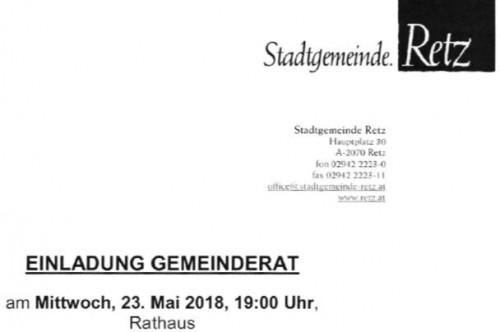 Einladung zur Gemeinderatssitzung am 23. Mai 2018 um 19:00 Uhr in Retz