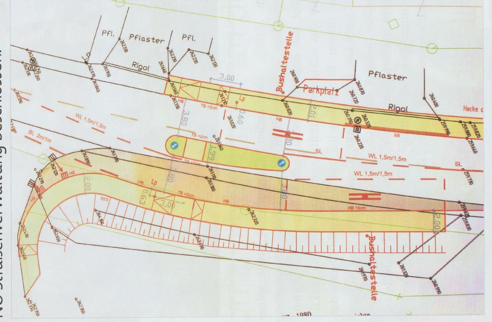 auf diesem Plan endet der Gehweg relativ bald und führt nicht weiter Richtung Stadt Retz