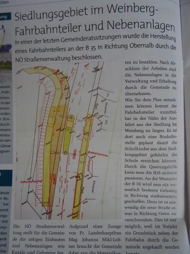 """laut diesem Plan sind Bushaltestelle und Fahrbahnteiler gleich nach der Einmündung von der Straße """"am Weinberg"""" vorgesehen."""