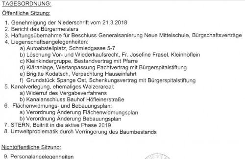 Tagesordnung Gemeinderat vom 23. Mai
