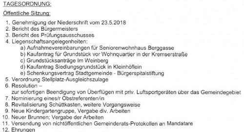 Inhalte und Tagesordnung Gemeinderatssitzung Juli 2018