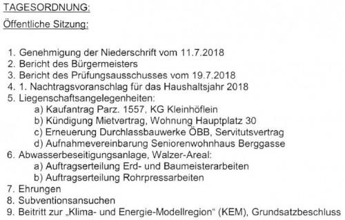 Tagesordnung GR Sitzung vom 5. September 2018