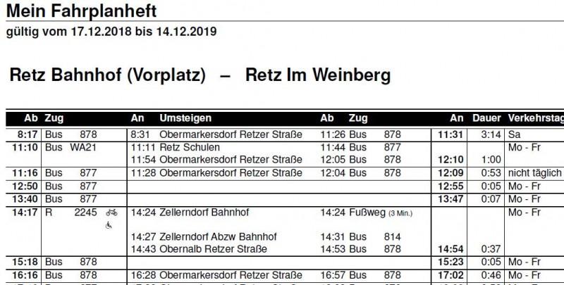 """Fahrplan für Haltestelle """"Im Weinberg"""""""