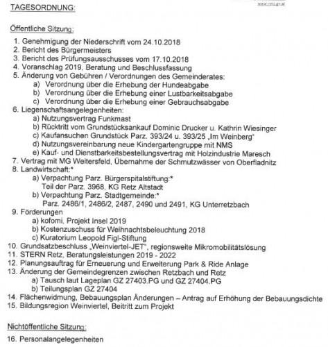 Die umfangreiche Tagesordnung zurmTagesordnung Gemeinderat Retz Dezember 2018