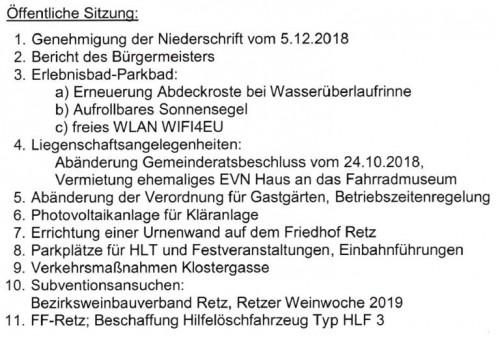 Tagesordnung Gemeinderat Retz für 23.Jänner 2019