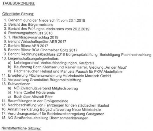 Tagesordnung zur Gemeinderatssitzung vom 20. März 2019