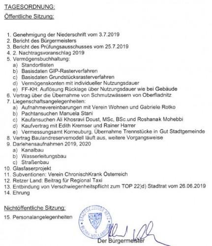 Tagesordnung Gemeinderat vom 11. September 2019