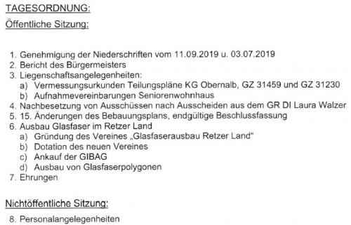 Tagesordnung Gemeinderat für 23. Oktober 2019