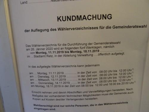 Kundmachung - Amtstafel im Stadtamt Retz - Gemeinderatswahl 2020 in Retz