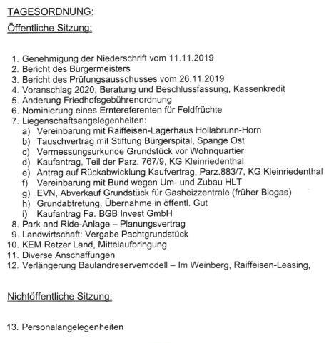 Tagesordnung für den Gemeinderat im Dezember 2019